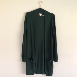 BP | Long Line Forest Green Cardigan